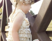 Vintage-Inspired Sweet Cream Ivory and Beige Silk Rose Headband with Curled Feathers and Pearl Embellishments