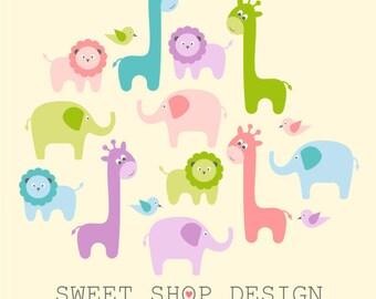 Baby Shower Clip Art, Animal Clip Art, Digital Clip Art, BABY ANIMALS, Instant Download