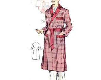 Plus Size (or any size) Vintage 1950s Men's Dressing Gown Pattern - PDF - Pattern No 186 Timothy