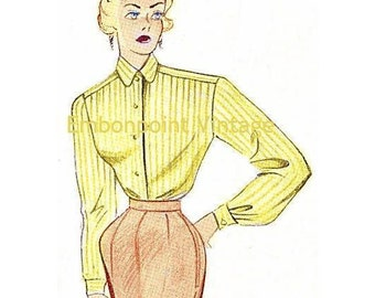 Plus Size (or any size) Vintage 1949 Blouse Sewing Pattern - PDF - Pattern No 41 Eunice