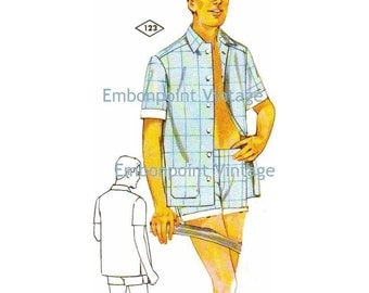Plus Size (or any size) Vintage 1969 Shorts Pattern - PDF - Pattern No 123 Sean Swimming Trunks