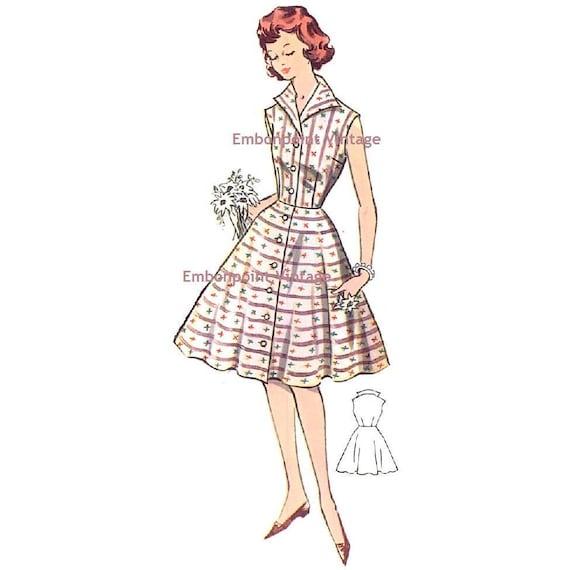 Plus Size (or any size) Vintage 1950s Dress Pattern - PDF - Pattern No 10: Cynthia