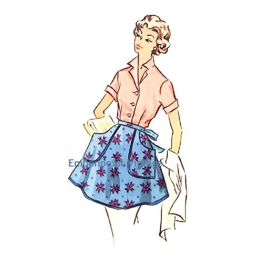 Plus Size (or any size) Vintage 1950s Apron Pattern - PDF - Pattern No 109 Sarah