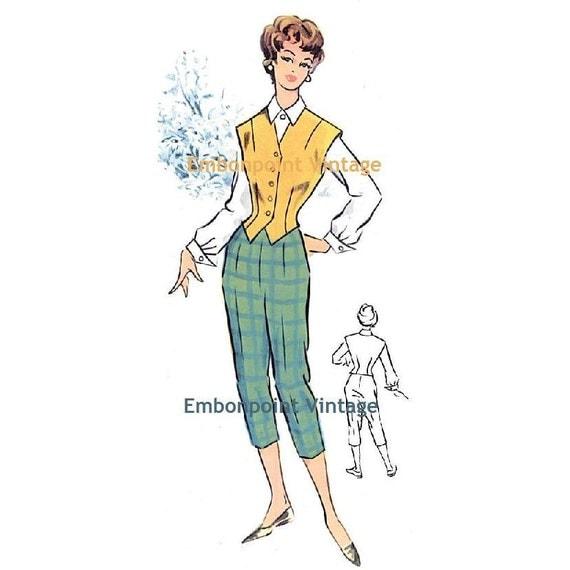 Plus Size (or any size) Vintage 1950s Skirt Pattern - PDF - Pattern No 94 Anita Pants