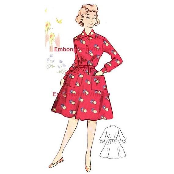 Plus Size (or any size) Vintage 1950s Dress Pattern - PDF - Pattern No 144 Irene