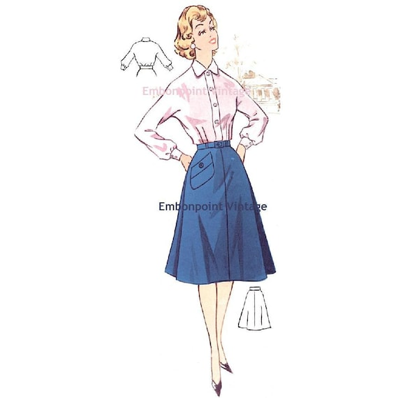 Plus Size (or any size) Vintage 1950s Skirt Pattern - PDF - Pattern No 63b Jean Skirt