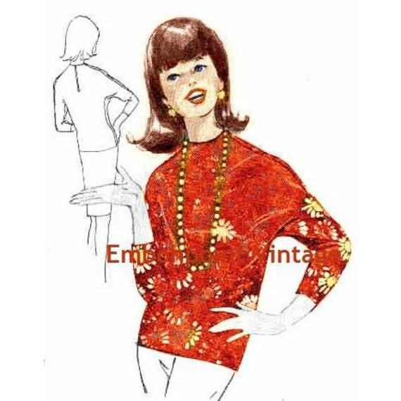 Plus Size (or any size) Vintage 1969 Top Pattern - PDF - Pattern No 169 Trisha