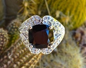 Black Spinel With White Topaz Sterling Silver Ring
