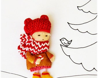 Cute Brooch Little girl with lollipop (2) Doll brooch Cyber Monday Black Friday Etsy