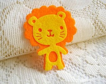 Felt Applique Iron on Applique Yellow Orange Happy Lion, Baby shower, Kodomo Lion kawaii applique shirt bag kid baby toys bag decoration, A5