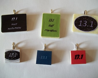 Choice of 13.1 Half Marathon handcrafted Rummikub or scrabble tile Game Piece Necklace