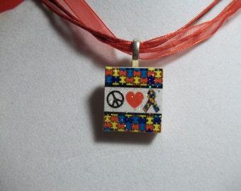 Peace Love Autism Awareness Glitter Puzzle Ribbon handcrafted Scrabble Tile Pendant Necklace