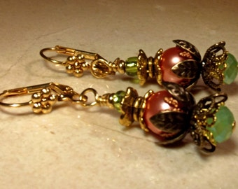 Earrings Handmade Flower In Bloom Spring Blush Glass Pearl Czech Green Crystals and Mixed Metal Gold and Antique Gold Findings