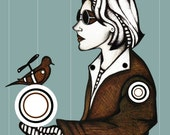 Steampunk Illustration, Drawing of Girl in Steampunk Glasses, Steampunk Bird, Cool Steampunk Chic