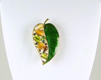 K. C. Cat's Eye and Green Cloisonne Leaf Brooch