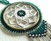 Teal White Clear Authentic Native Made Beaded Dream Catcher