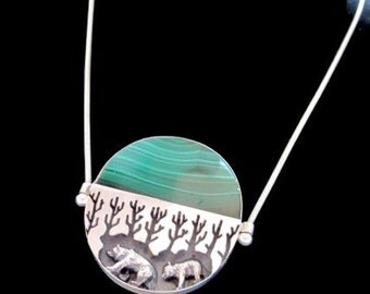 Malachite Silver Bear Necklace