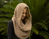 Oversized Hooded Cowl, Oatmeal Tan Ecru Crochet Infinity Scarf, Loop Scarf