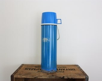 Vintage Retro Winter Blue Tall Thermos Canteen With Handle