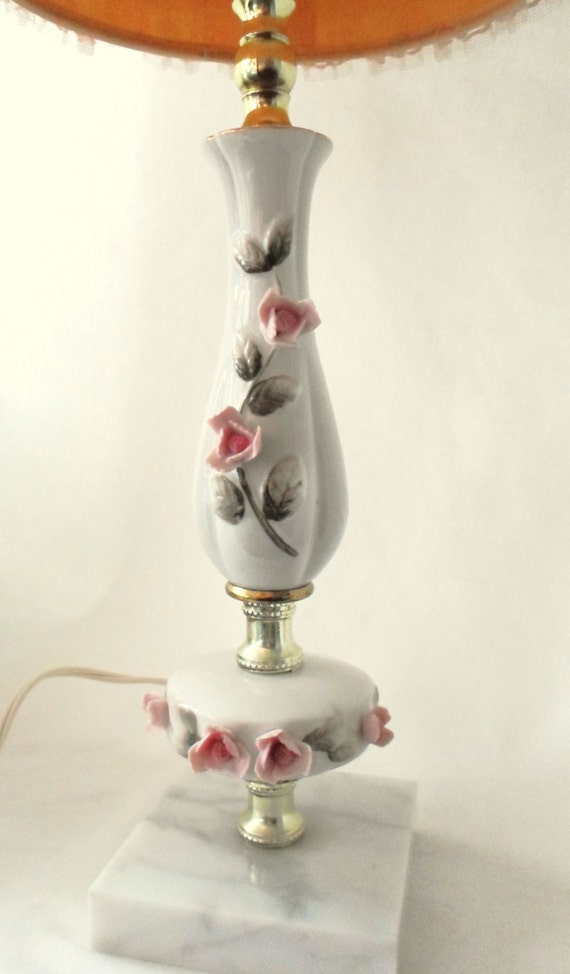 Vintage Porcelain Lamp With Pink Flowers Marble Base Gold