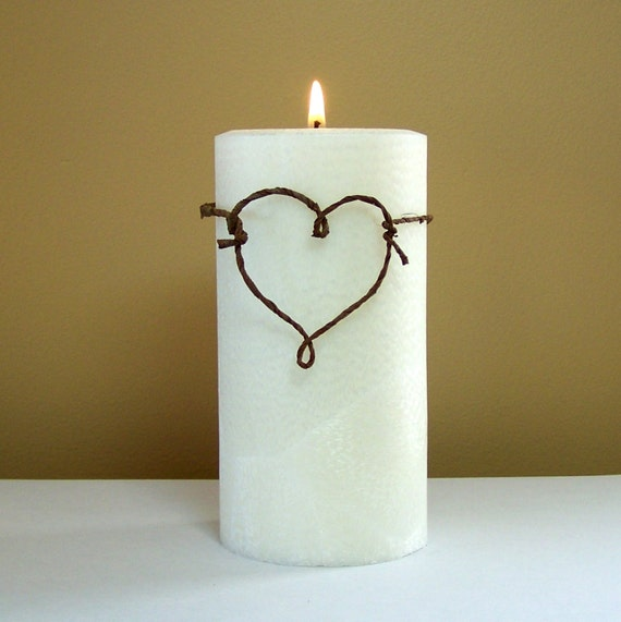 Wedding Ceremony Unity Candle - Rustic Unity/ Memorial Candle