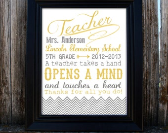 Teacher Appreciation Gift - Printable - Keepsake - PDF - Personalized - Retro