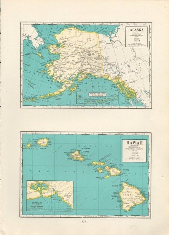 Hawaii And Alaska Map Vintage Turquoise Blue And Yellow