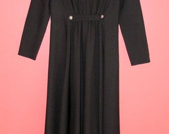 S Small Vintage Dress Black Maxi Long Sleeve 60s 70s Elegant LBD Mad Men Cocktail Hostess Gown
