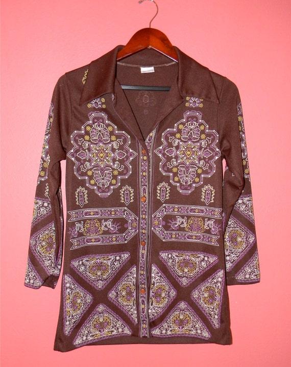Vintage Top 1960s 1970s Caper-Mates Button Up Shirt