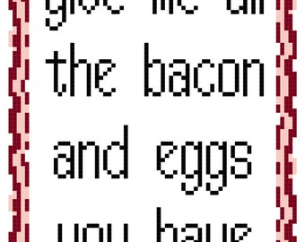 Cross Stitch Pattern -- All the Bacon and Eggs with bonus mini