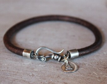 Mens Bracelet Leather and sterling - Trail blazer cairn mens jewelry graduation gift