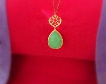 Bohemian Gold Stone Drop Necklace
