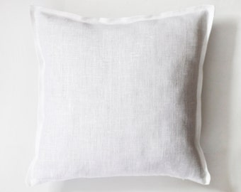 White linen king size shams decorative pillow covers - set of 2 king size throw pillows 20x34 inches size 0348