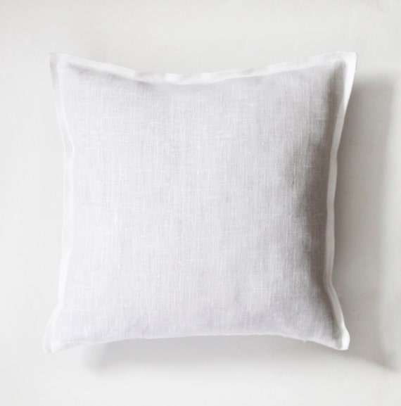 Items similar to White linen king size shams decorative pillow covers - set of 2 king size throw ...