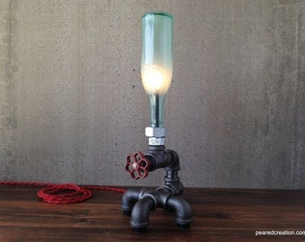Beer Bottle Lamp - Industrial Furniture - Steampunk - Lighting