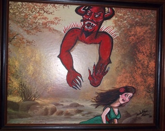 Funny Re-purposed thrift store painting ---- The Demon in the Mountains
