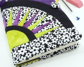 Moleskine Cover, Quilted Journal Cover, Fabric Diary - Purple and Green Hand Dyed Fabric with Black & White Flowers