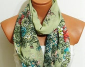 infiniti scarves,flower,colors in the forest.Floral Infinity Scarf,Lime Green scarf,Silky Chiffon Loop Infinity Scarves.Circle Scarf .