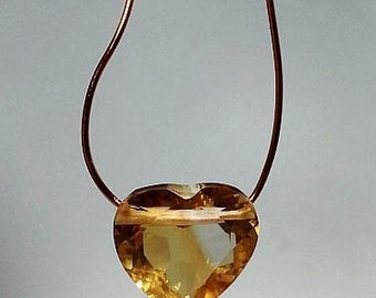 Citrine Rare Drilled Faceted Heart Shape Briolette Beads 10mm