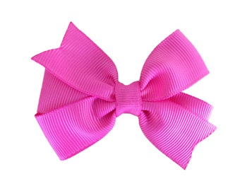 3 inch bright pink hair bow - pink bow, toddler bow