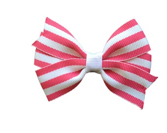 25% off SALE Pink & white hair bow - striped hair bow, pink hair bows, girls hair bows, girls bows, toddler bows, baby bows
