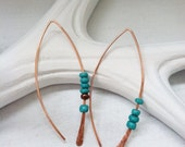 Copper and Turquoise Wishbone Earrings