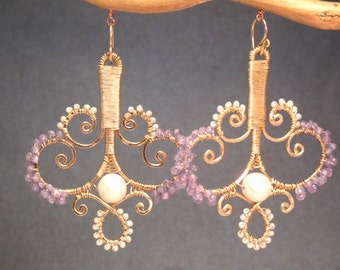 OOAK Artistic Earrings Ivory pearls, Tanzanite Luxe Bijoux 184