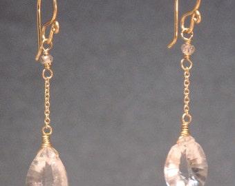 Crystal quartz drop chain earrings Venus 172