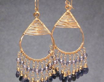 Chandelier hoops with blue sapphire and kyanite Kashmir 34