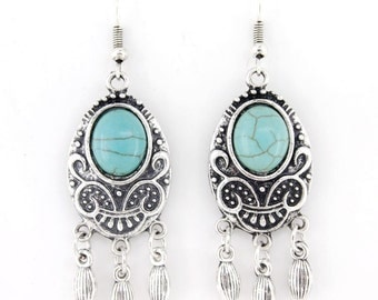 Simple Blue Turquoise Stone Chandelier Dangle Drop Earrings