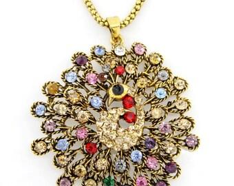 Gorgeous Gold-tone BIG Rainbow Crystal Peacock Pendant Necklace