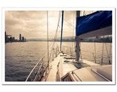 Yacht Expedition Photography 8x12, Sea Travel Photo, Fishing, Marine Nautical Seaman Photograph, beige and dark indigo blue