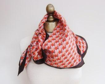 vintage silk scarf, 70s sqaure scarf, geometric silk scarf,  square silk, vintage scarves, warm colors, neckerchief