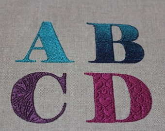 Embroidered monogram 4 styles machine embroidery alphabet